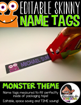 Editable Skinny Name Tags {Monster Edition}