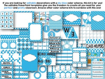 Editable Sky Blue Color Scheme Class Decor Kit
