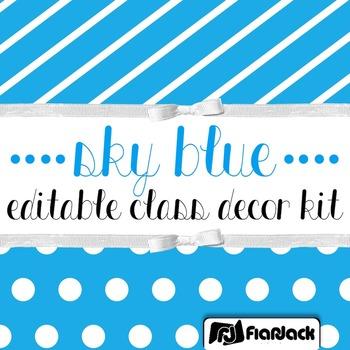 Editable Sky Blue Color Scheme Class Decor Kit