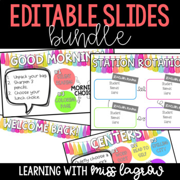 Editable Slides for Morning, Centers, & Station Rotation BUNDLE