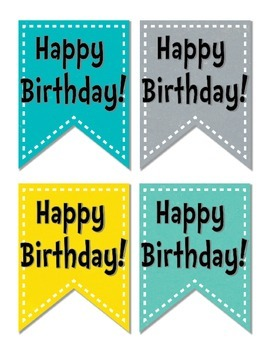 Editable Small Birthday Pennants