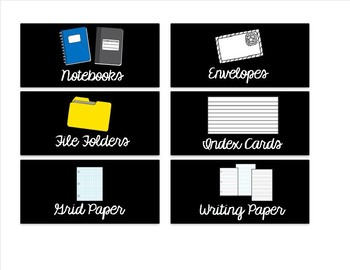 Editable Small Black Classroom Supply/Teacher Toolkit Labels - Cursive