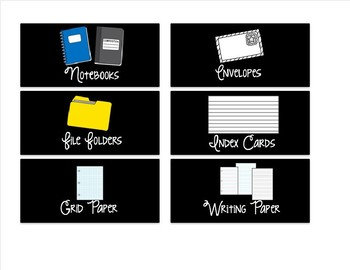 Editable Small Black Classroom Supply/Teacher Toolkit Labels - Swirly Font
