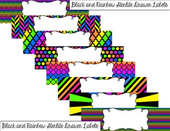 Editable Small Sterilite Drawer Labels - Bright Rainbow Color Scheme
