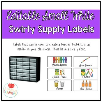 Editable Small White Classroom Supply/ Teacher Toolkit Labels - Swirly Font