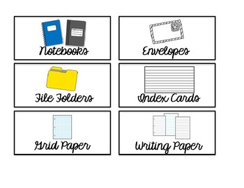 Editable Small White Classroom Supply/Teacher Toolkit Labels - Cursive