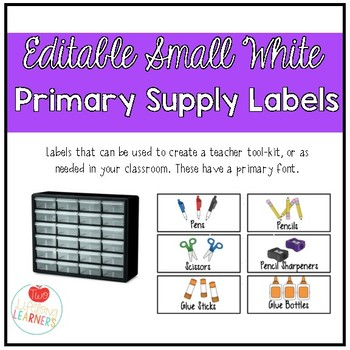 Editable Small White Classroom Supply/Teacher Toolkit Labels - Primary Font