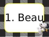 Editable Snoopy with Buffalo Plaid Name tags