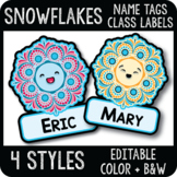 Editable Snowflake Name Tags, Winter Cubby Tags, Large Classroom Labels