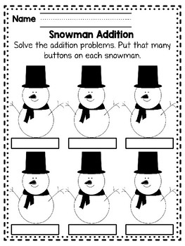 Editable Snowman Addition Worksheet