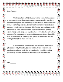 Editable Snowman Themed Holiday Party Letter By Erin Hedlund Tpt