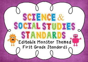 Editable Social Studies & Science Standard Posters - 1st G