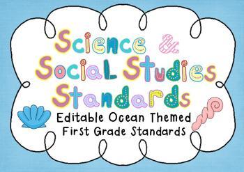 Editable Social Studies & Science Standard Posters - 1st Grade - OCEAN THEME