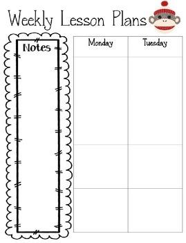 Editable Sock Monkey Lesson Plan Template