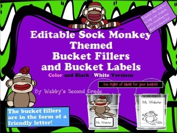 Editable Sock Monkey Themed Have You Filled a Bucket Today Labels and Forms