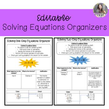 Editable Solving Equations Organizers