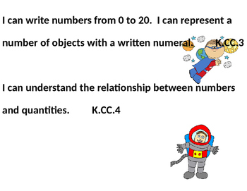 Editable Space Themed Kindergarten ELA and Math Common Core I Can Statements