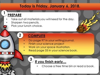 Morning Message Slides (Space Themed)