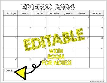 Editable Spanish Calendar 2018-2019