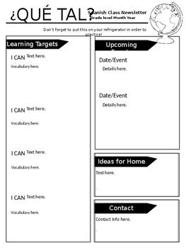 Editable Spanish Class Newsletters