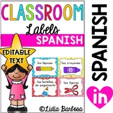 SPANISH Editable Classroom Labels with Visuals { for Littl