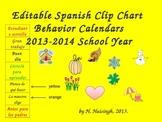 Editable Spanish Clip Chart Behavior Calendar (2013-2014 S