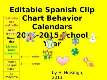 Editable Spanish Clip Chart Behavior Calendar (2014-2015 S