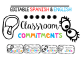 Editable Spanish & English Classroom Commitments