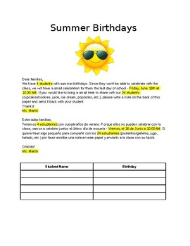 Editable Spanish-English Summer Birthday Note