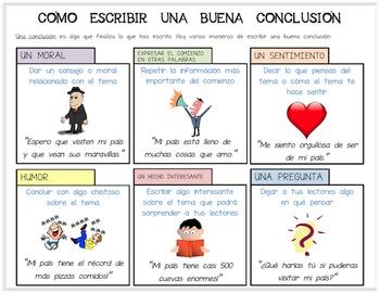Editable Spanish Handout/Poster: Cómo Escribir Una Buena Conclusión