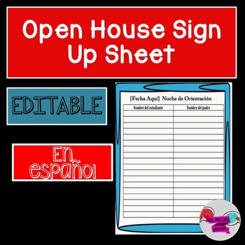editable spanish open house sign in sheet by bilingual brains tpt