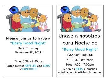 Editable Spanish Reading Night Flyer