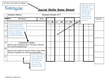 Special Education Editable Data sheets for IEP goals or Record Keeping