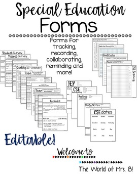 Special Education Forms - write on using text boxes