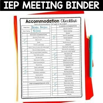 Editable Special Education Meeting Binder