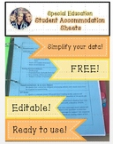 Editable Special Education Student Accommodation Sheet for Data Notebook
