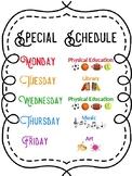 Editable Special Schedule