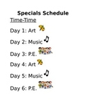 Specials/ Integrated Arts Schedule (Editable!)