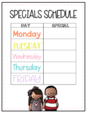 Editable Specials Schedule