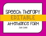 Editable Speech Attendance Form