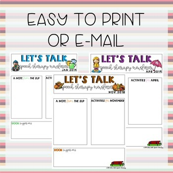 2018-2019 Editable Speech Therapy Newsletters