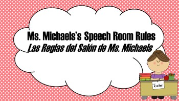 Editable Speech Therapy Rules / Classroom Rules in Spanish & English