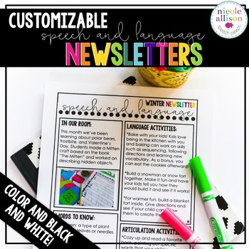 Editable Speech and Language Newsletters