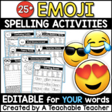 Editable Spelling Activities - Emoji Activities for ANY List of Words!