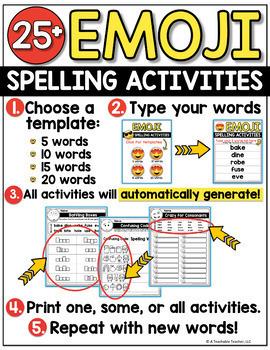 Editable Spelling Activities - Emoji Activities for ANY List of Words!
