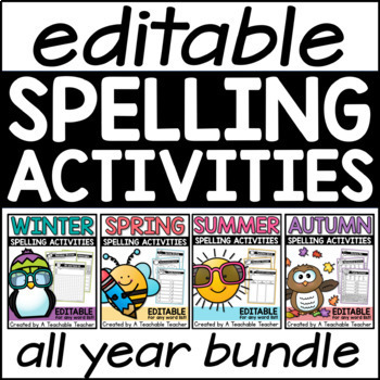Spelling Activities - Editable for ANY Word List