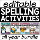 Editable Spelling Activities GROWING Bundle
