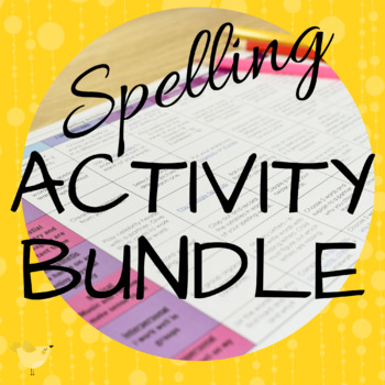 Spelling Activity Bundle ( Editable Task Cards, Matrix, and Bloom's Activities )