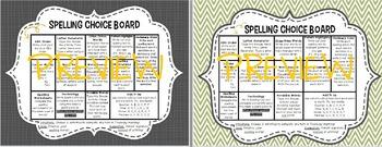 Editable - Spelling Choice Board