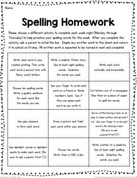 Spelling Homework Editable